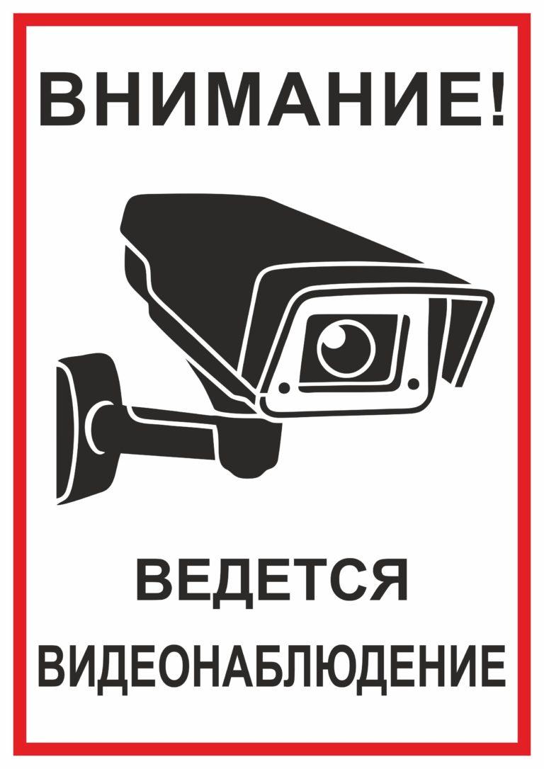 Табличка видеонаблюдение размер 300х100 вариант 2