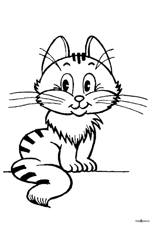 001-Раскраска нарисованный кот