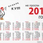Календарь на 2017 год с петухом
