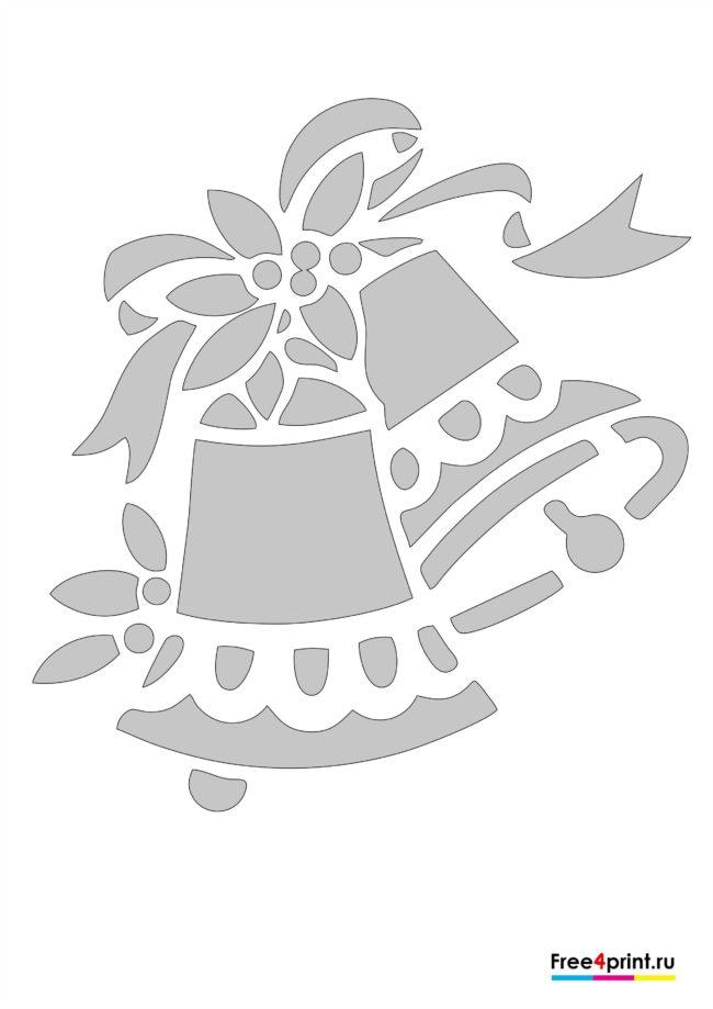 Новогодние колокольчики - трафарет на окна