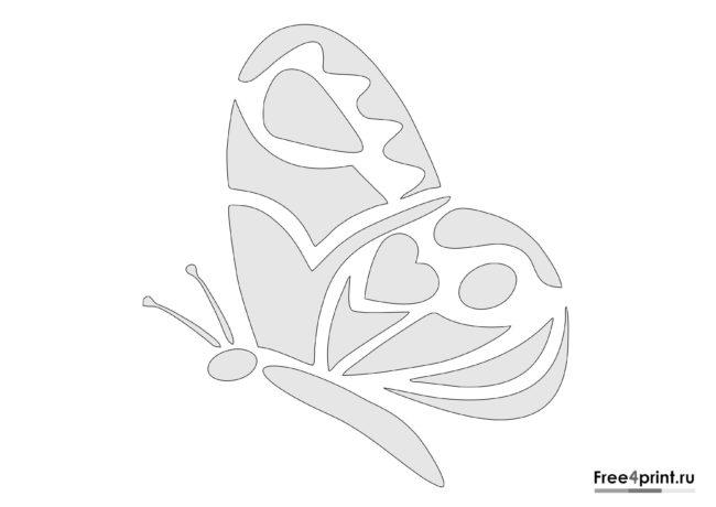 Бабочка с узором - трафарет