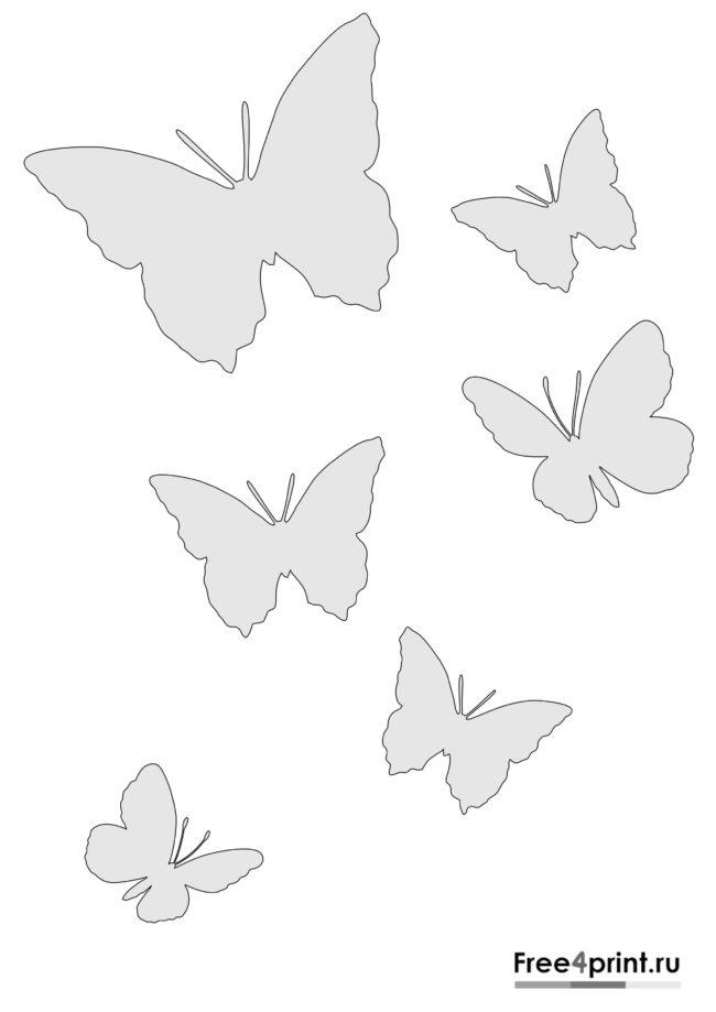 Трафарет с бабочками для печати на принтере